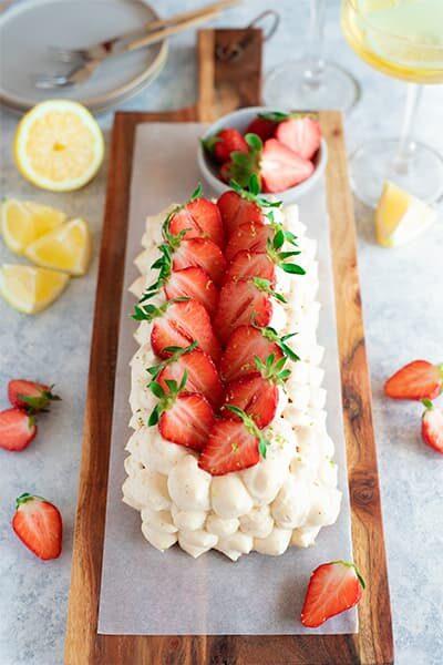 Gâteau vanillé aux fraises